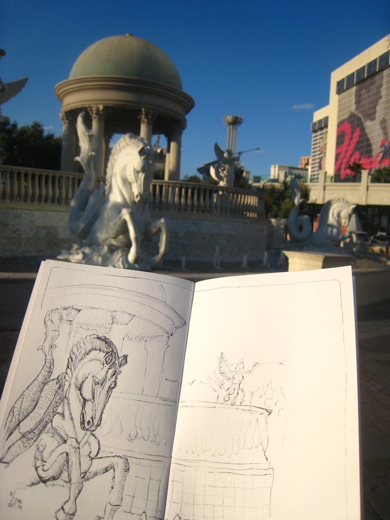 MJ SKETCHBOOK | Urban Sketching - Las Vegas Caesars Palace water fountain seahorse