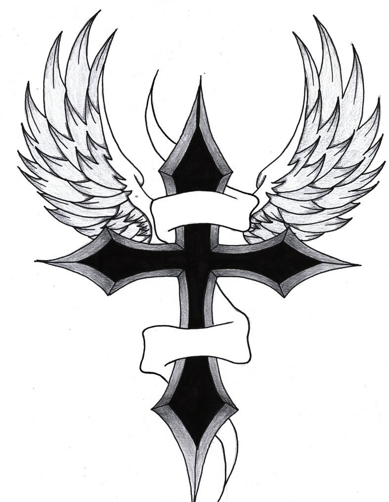 Crosses With Wings Drawing At Getdrawingscom Free For Personal