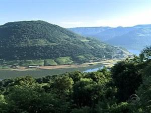 Três hidrelétricas são abastecidas com as águas do rio Uruguai, no RS (Foto: Reprodução/RBS TV)