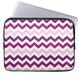 Violet and Pink Zig Zag Chevrons Pattern Laptop Sleeves
