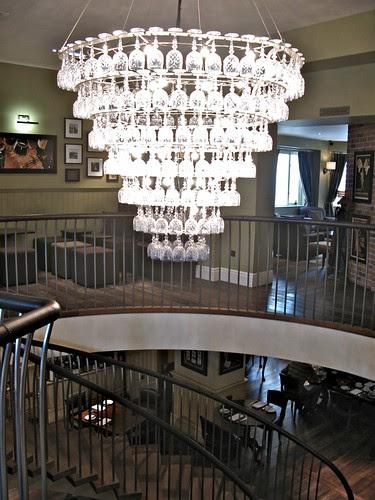 chandelier of wine glasses