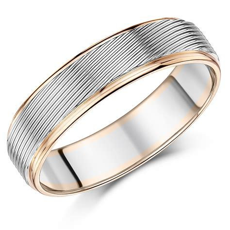 6mm Men's Palladium and 9ct Rose Gold Wedding Ring   9ct 2