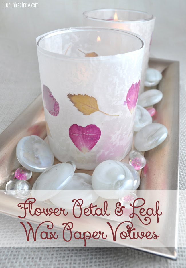 Flower Petal and Leaf Wax Paper Votives Craft Idea