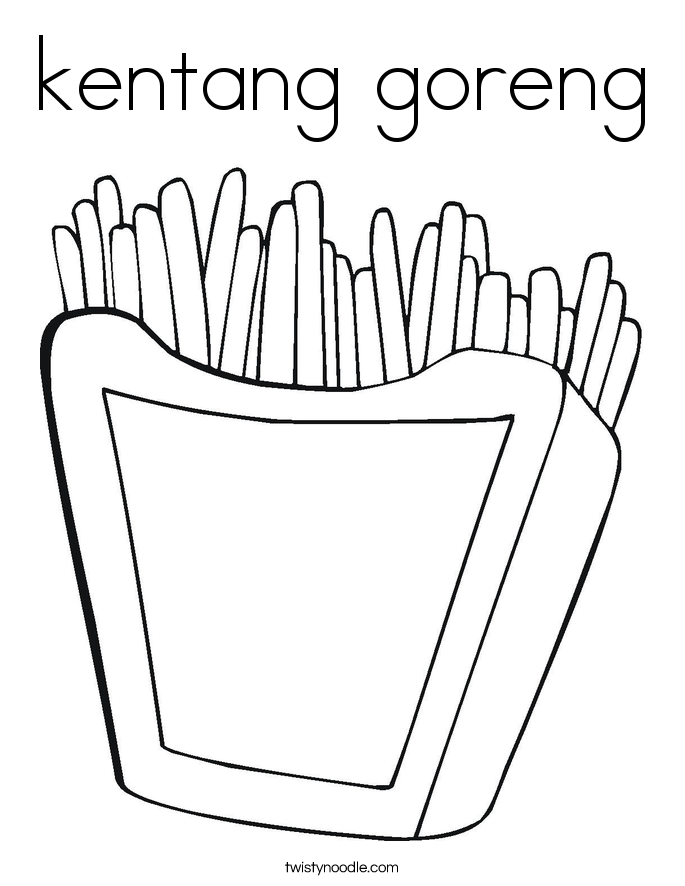 Kentang Goreng Coloring Page Twisty Noodle Sketch Coloring Page