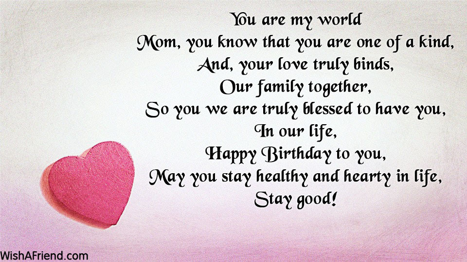 You Are My World Mom Birthday Poem