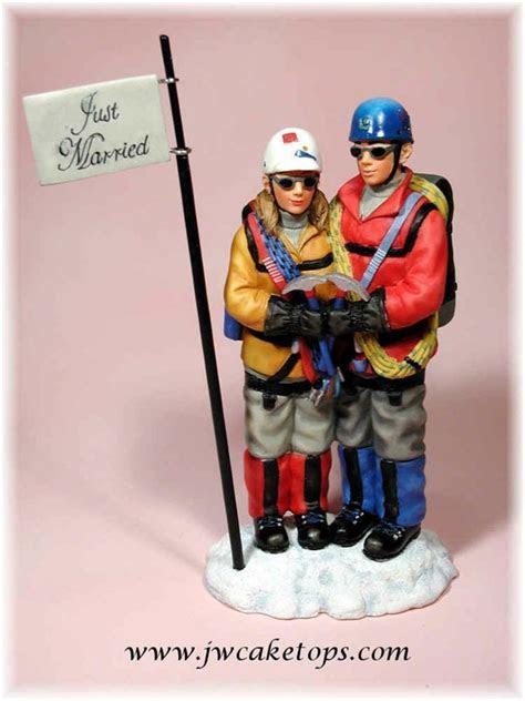 Mountain Climbing Couple Wedding Cake Top