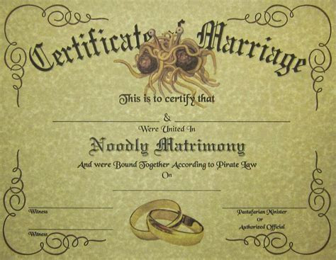 FSM Marriage Certificate Parchment: Pastafarian Flying