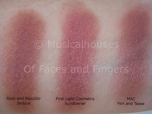 MAC Flirt Tease Rock and Republic Seduce Firstlight Sundowner swatch