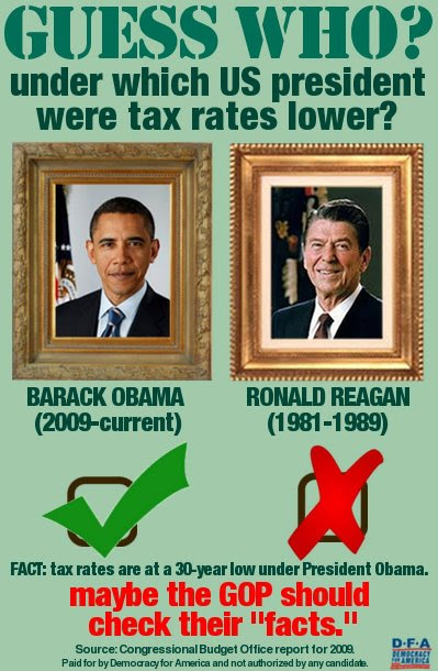 Democracy for America: Under which US President were tax rates lower?