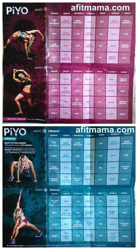 piyo workout schedule  calendar  fit pinterest