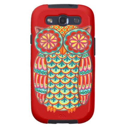Funky Colorful Owl Samsung Galaxy S3 Vibe Case Samsung Galaxy SIII Cases