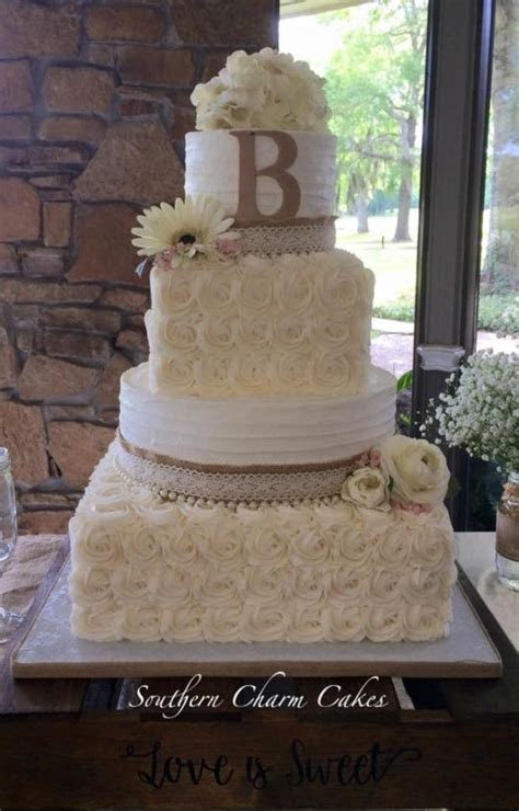 Burlap rustic wedding cake   cake by Michelle   Southern