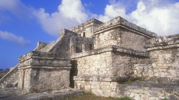 El Castillo at the Mayan ruins at Tulum Quintana Roo Mexico