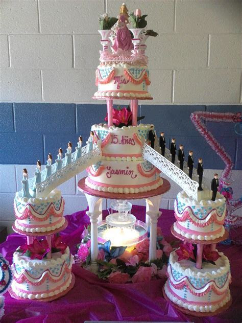 #nanisetc hot pink and baby blue quince cake   Quinceanera