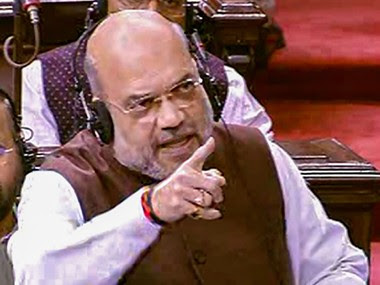 Union Home Minister Amit Shah speaks in the Rajya Sabha. PTI