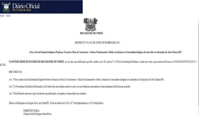 Exclusivo: João Câmara: Publicado Decreto Governamental que Cria a Escola Indígena de ensino Fundamental e Médio na comunidade do Amarelão