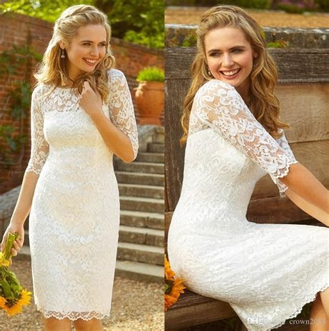 Knee Length Satin And Lace Wedding Dress With Lace Long