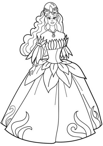 Dibujo De Princesa En Vestido De Flores Para Colorear Dibujos Para