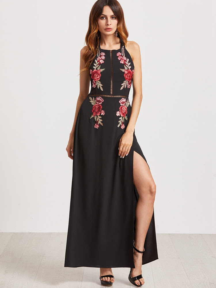 Sexy Floral Embroidered Backless Slit Hem Halter Women Maxi Dresses
