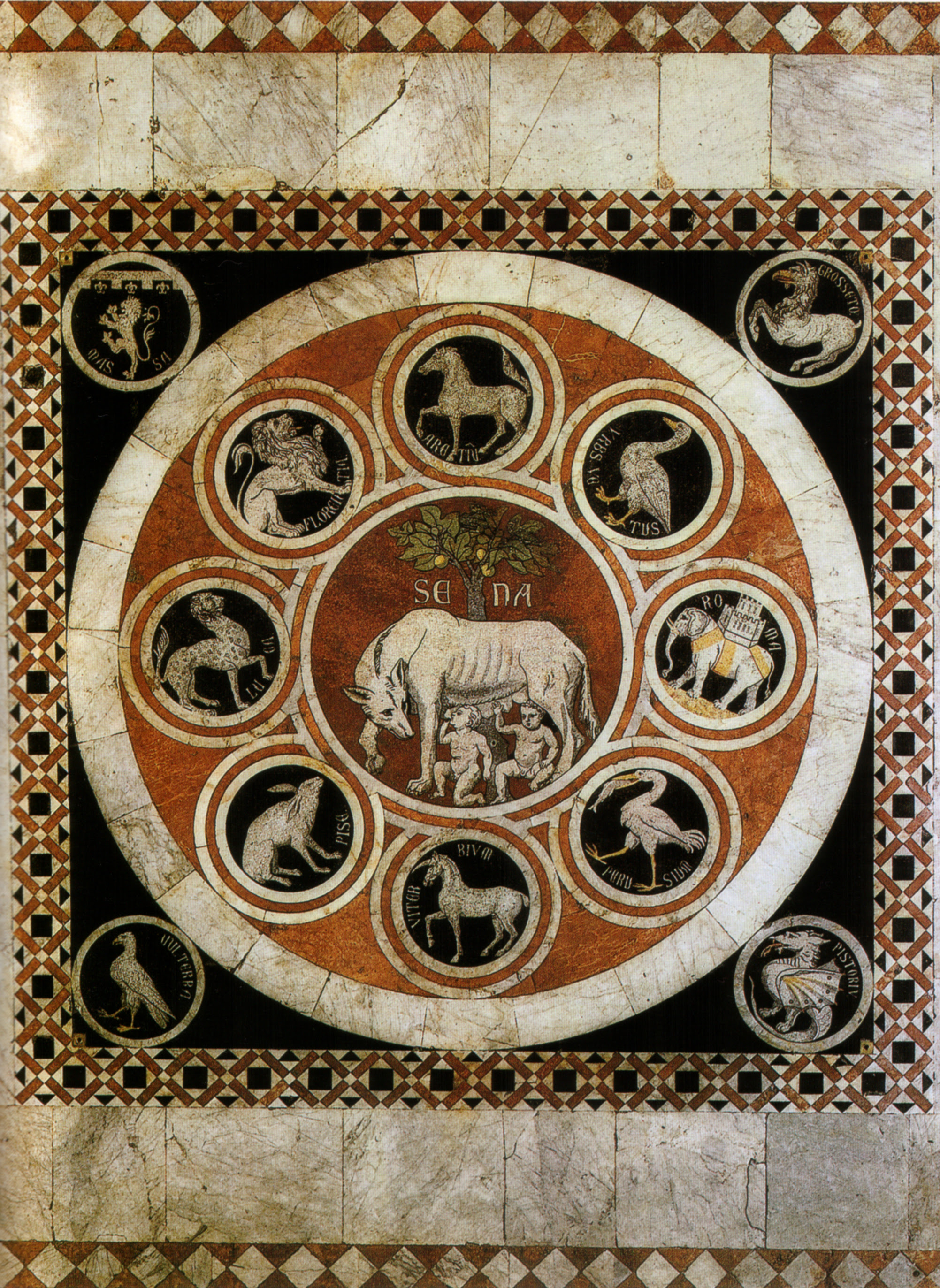One of the intarsia making up Siena's cathedral floor: The emblem of Siena  (Rome's She-Wolf and Senus and Aschius)