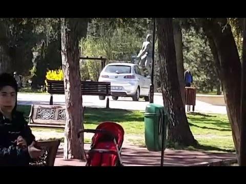 VIDEO Mașină pe aleile Parcului Areni