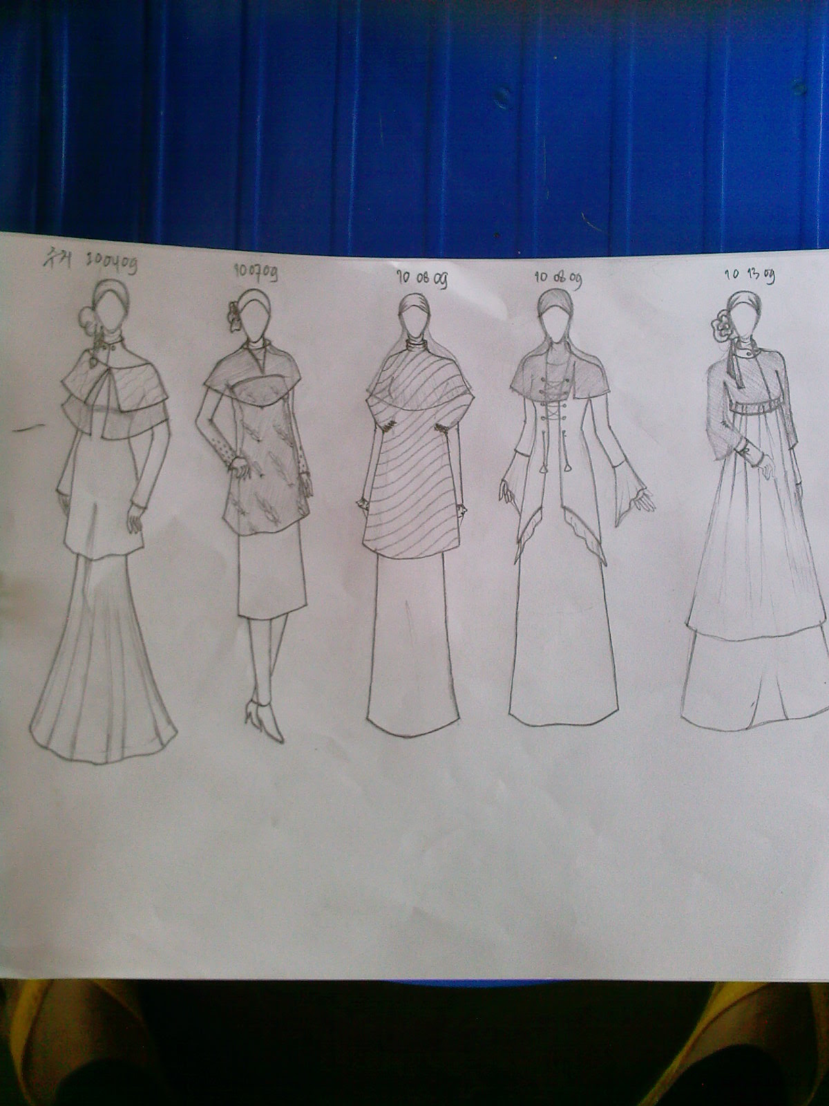 Gambar Sketsa Desain Baju Muslim Remaja  Sobsketsa
