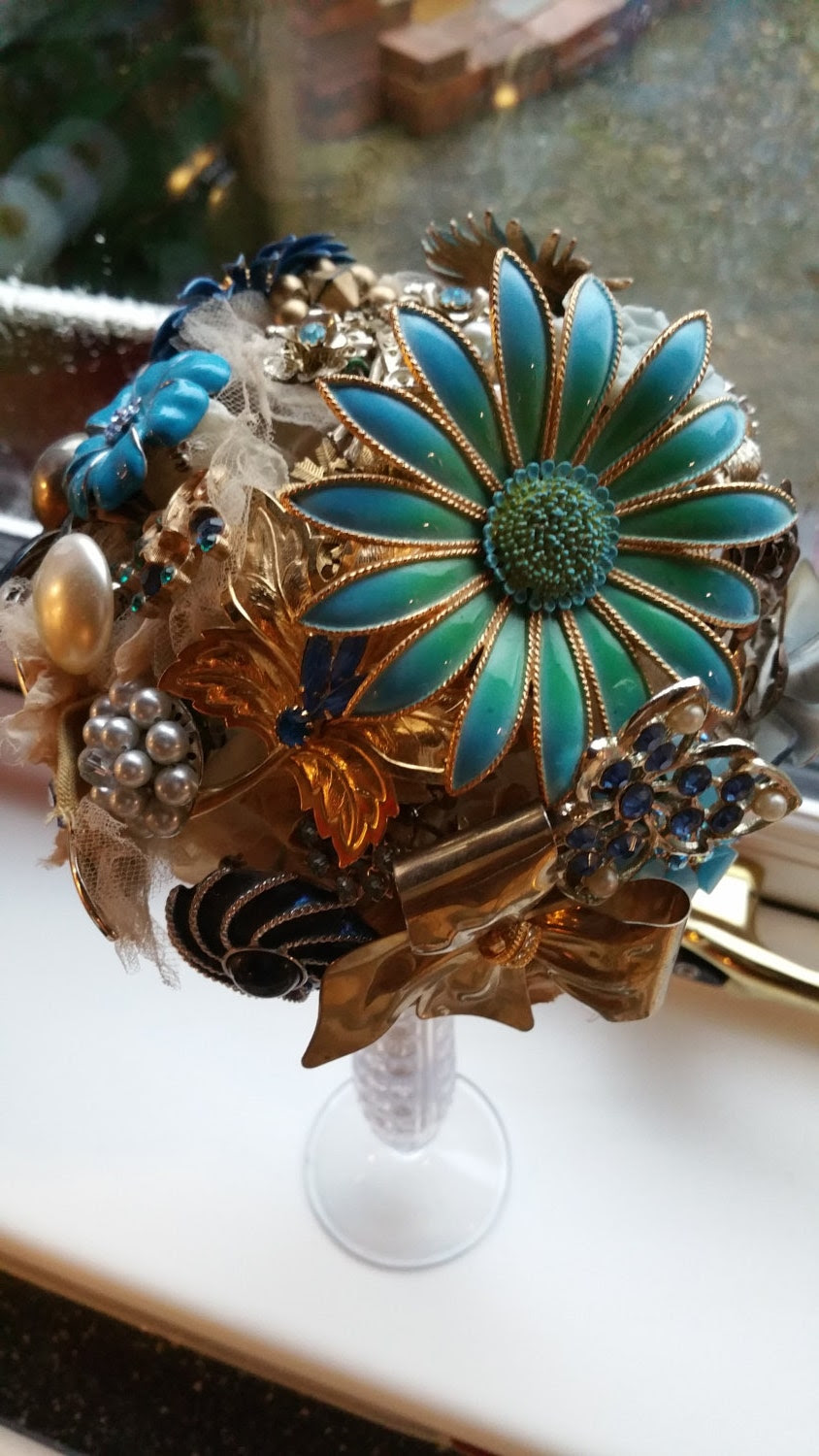 Stunning Blue & Gold Large Wedding Brooch Bouquet - Handmade with Love