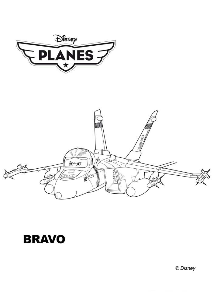 Coloriages Planes De Walt Disneybravo Un Avion F 18 A Imprimer