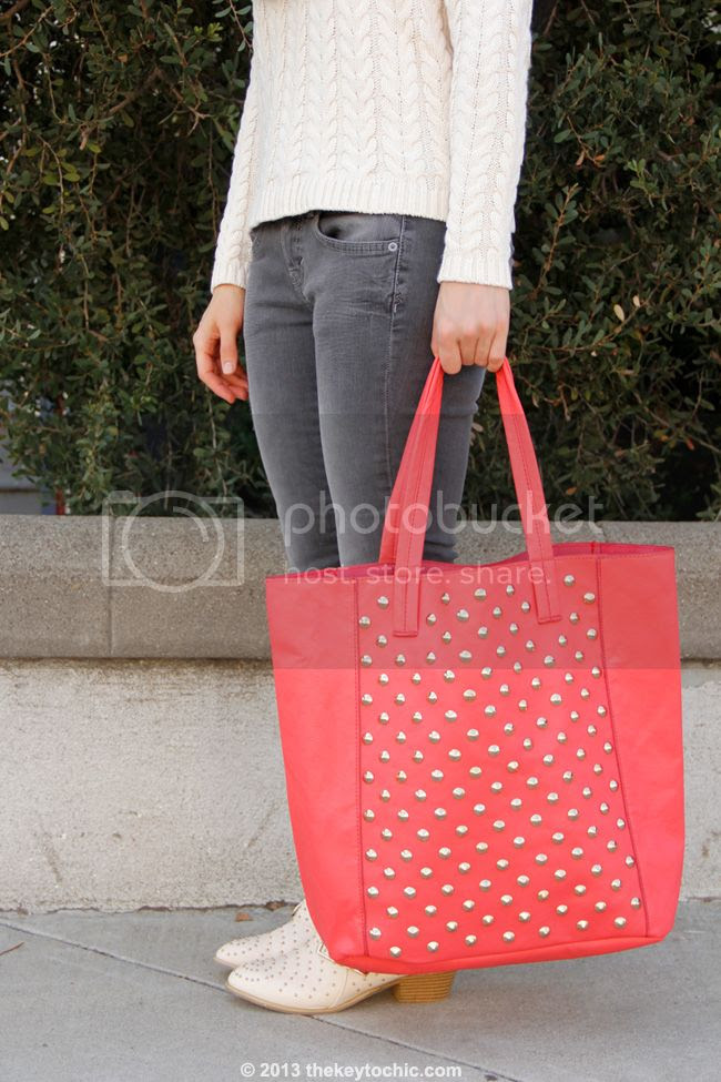 Cotton On cable knit sweater, Mossimo gray skinny jeans, Charlotte Russe studded triple buckle ankle bootie, and Charlotte Russe coral studded tote bag
