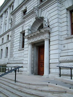 The new western entrance to HM Treasury