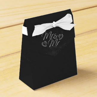 Chalkboard Heart Doodle Wedding Favor Box