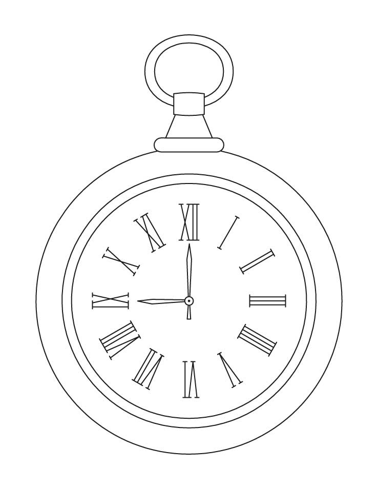 Pocket Watch Line Drawing At Getdrawingscom Free For Personal Use