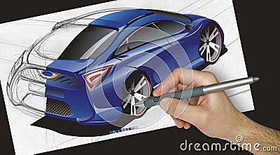 Designer Drawing A Car
