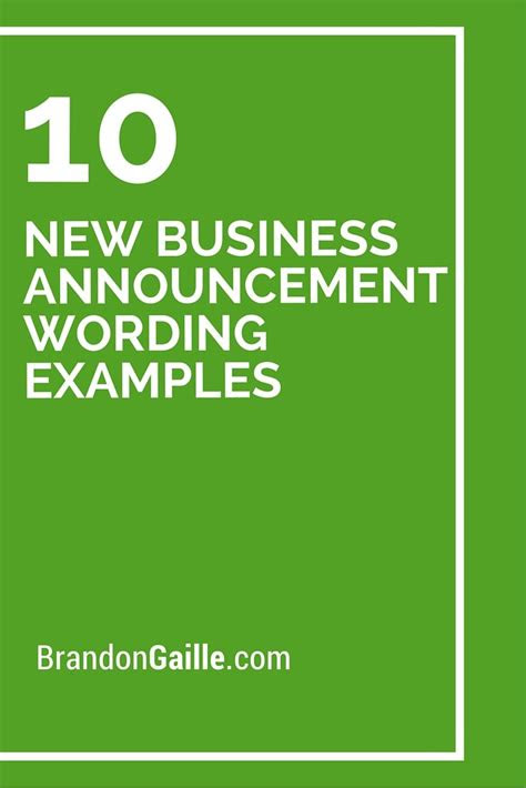 business announcement wording examples business