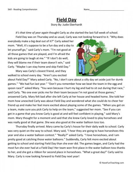 free field day fourth grade reading comprehension worksheet 464x600