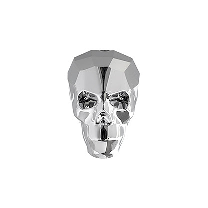 s46053 Swarovski Bead - 13 mm Faceted Skull (5750) - Crystal Light Chrome (1)
