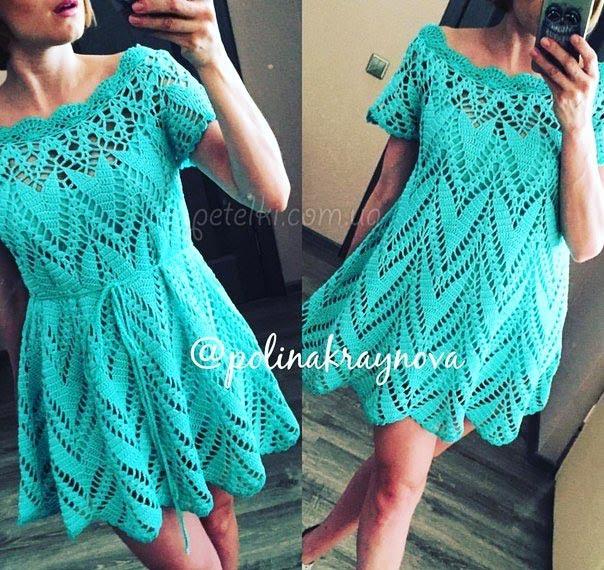 Платье-туника Полины Крайновой. Как вязать