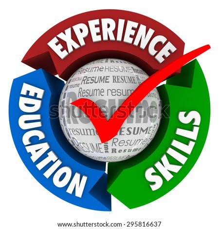 stock photo resume check mark and arrows for educaiton skills and experience as qualifications for landing an 295816637
