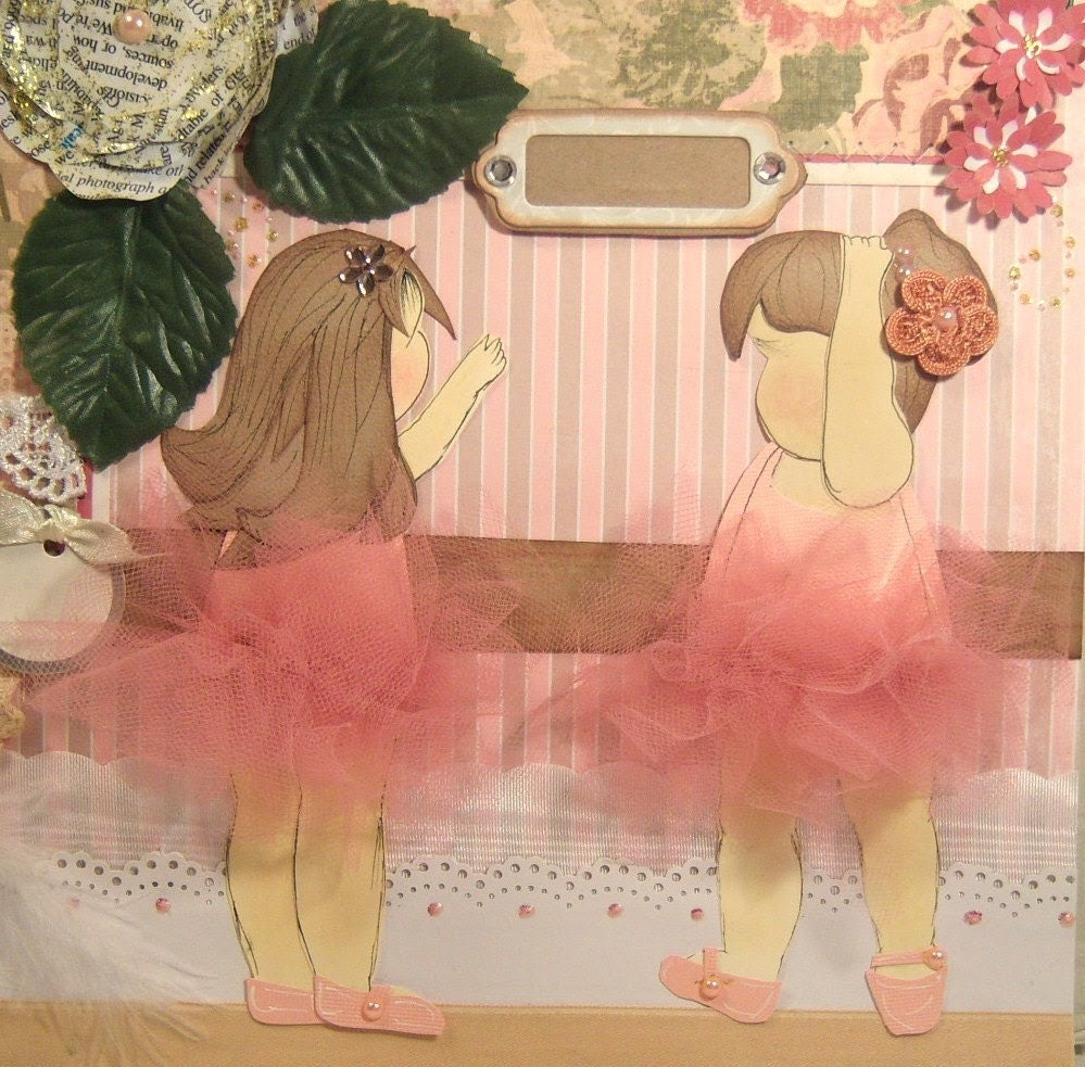 Shabby and Gorgeous Two Page Layout for a Girl ......Paper Pieced Dance Ballerina Pink Rose