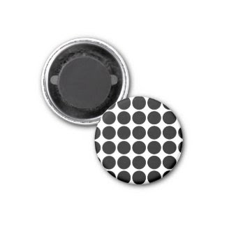 Black Polka Dots on White 2 Inch Square Magnet