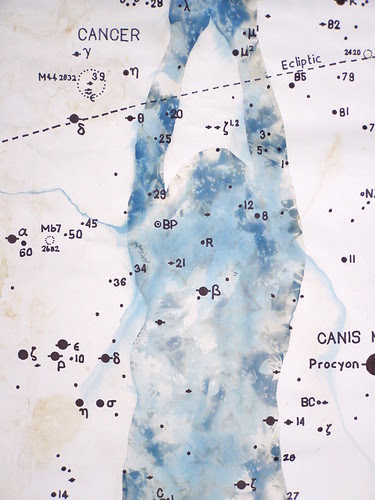 Drawing from the body, 2010 Pencil,cyanotype and ink on paper with astronomical data. by Russell Moreton