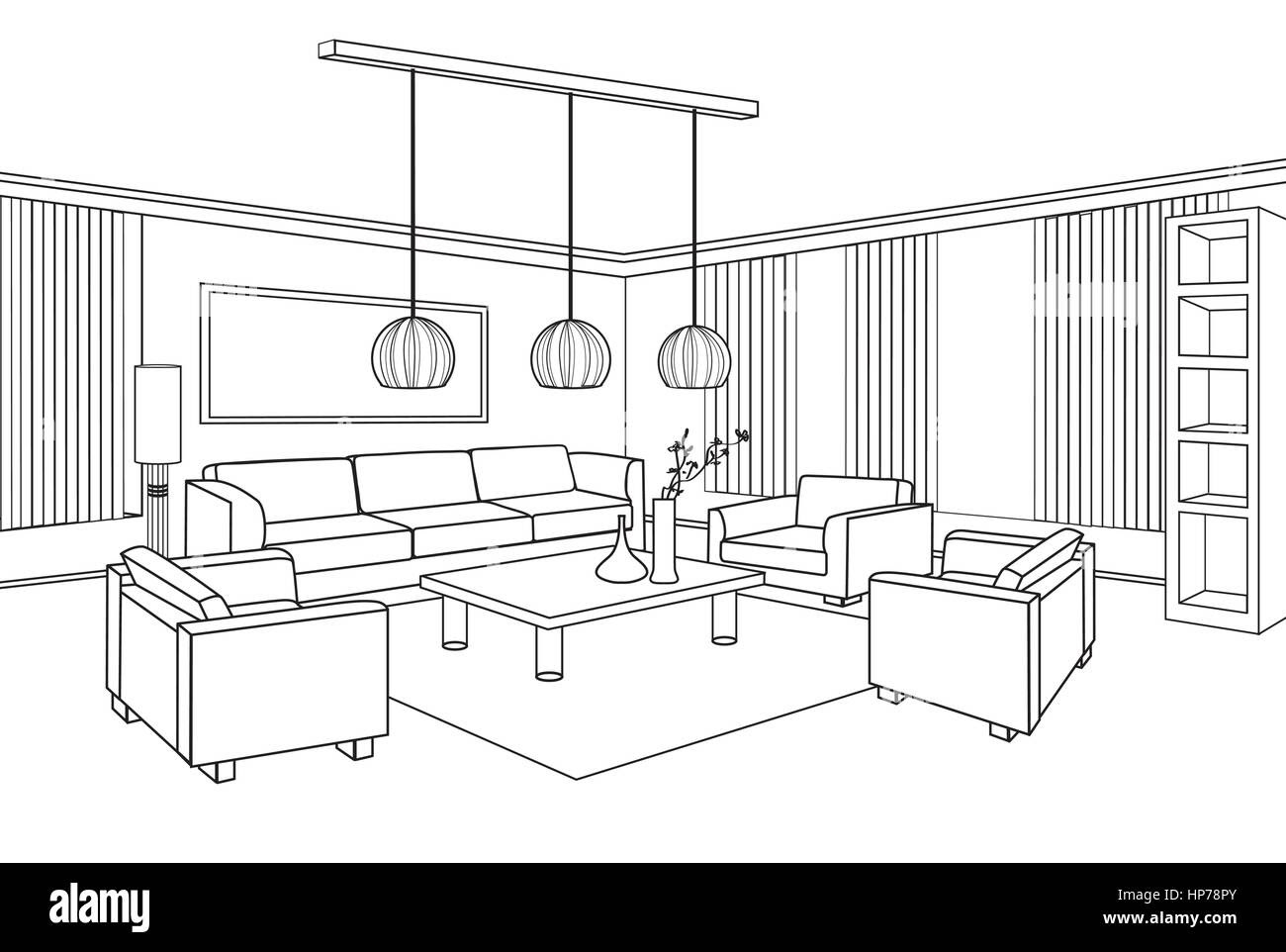 Living room view. Interior outline sketch. Furniture ...