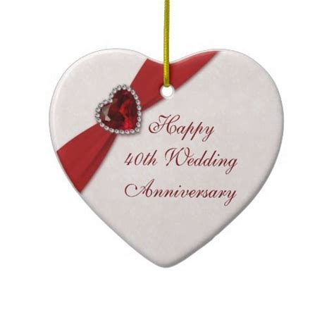 Damask 40th Wedding Anniversary Heart Ornament   Heart