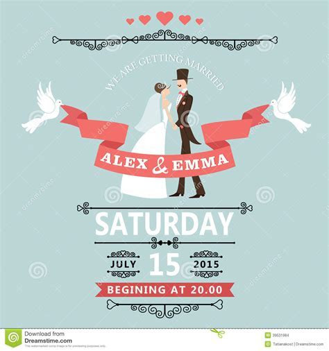 Wedding Invitation With Cartoon Bride And Groom Stock