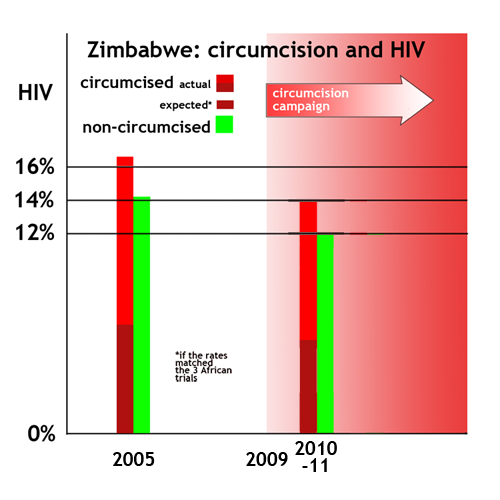 Zimbabwe - more circumcised men had HIV in 2005 and still do