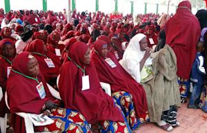Brides attend a wedding feast at the Kano state governor's …