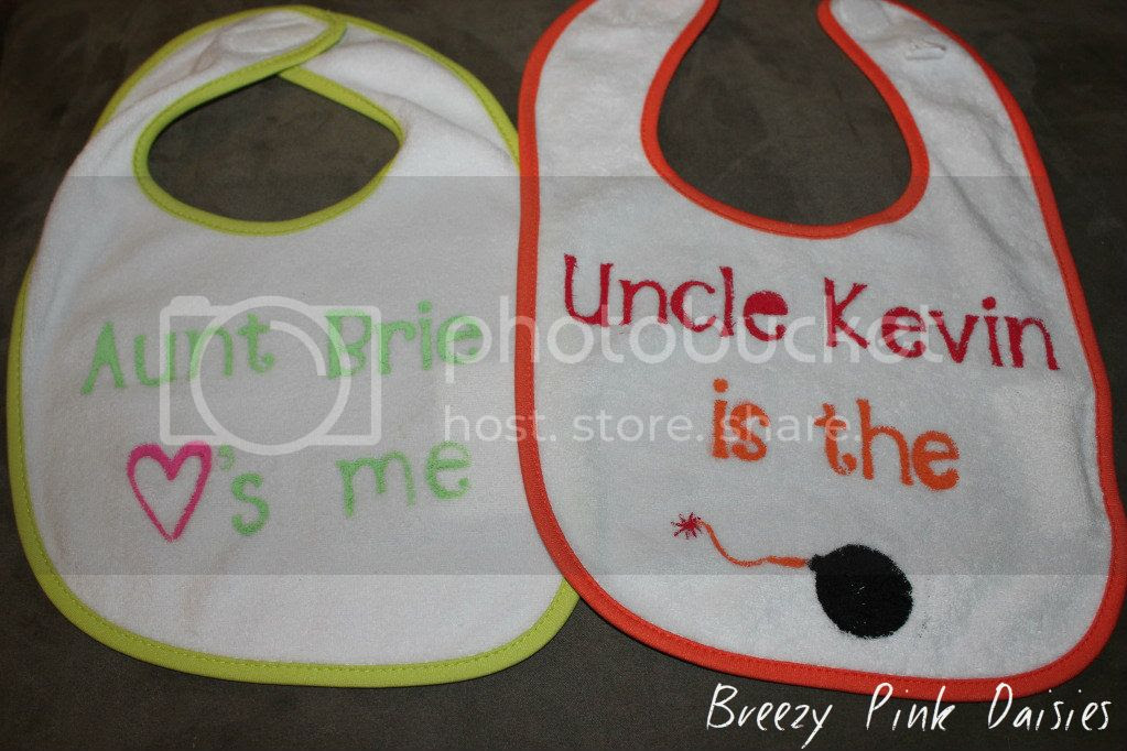 Aunt and Uncle - DIY freezer paper stenciled - Baby Bibs
