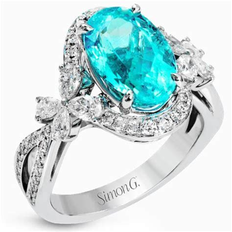 Simon G. 18K White Gold Blue Paraiba Tourmaline Ring