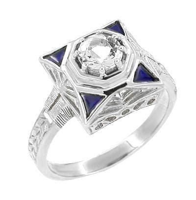 Art Deco Filigree Triangle Sapphires 1/2 Carat Diamond