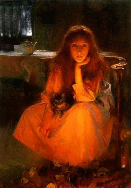 Paintings with people and cats. Arthur Hacker